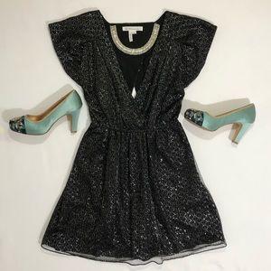 BCBG Open Back Cocktail Dress | Black Sparkly